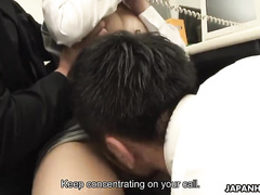 Japanese secretary is being treated by a pink dildo