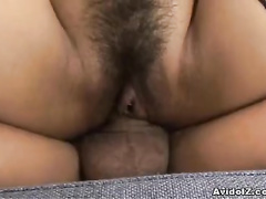 Hot Japanese pervert fucked in her hairy vagina