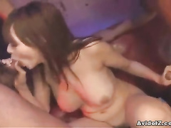 Sex hungry babe is moaning between two ram rods