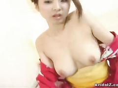 Hard cock in hot hands, mouth and between melons