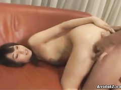 Girl stroking cock and taking it into the butt hole