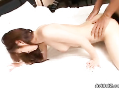 Asian pussy enjoys the stiff piston inside it