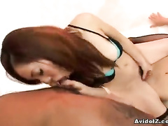 Black lingerie girl attacks two rods orally