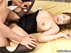 Chubby bimbo in black convulses on the cock