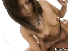 Asian cunt oozes out with cum after hard fuck