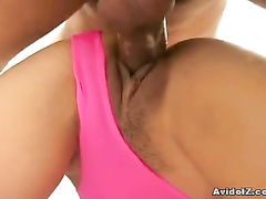 Babe in pink swimsuit pounded from behind