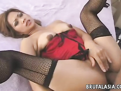 Stockings girl spreads legs and takes cock anally