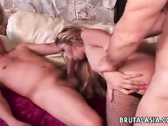 Blonde in stockings mouth and pussy slit fucking