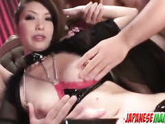 Filthy Asian reaches tons of cum out of her pussy