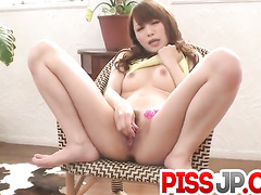 Asian bimbo tasting her own love juices