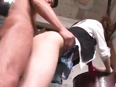 Man lifts schoolgirl's skirt and probes her cunt