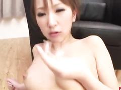 Charming girl swings on guy's fingers and sex toys