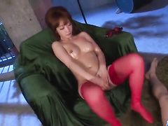 Oiled gal does blow and tit job while masturbation