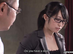 Stunning Japanese secretary gives an awesome titjob
