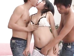 Young boys torture hot babe in wild threesome