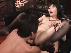 Hot stockings girl gives her shaved nub for fuck