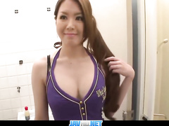 Asian beauty is massaging and licking cock