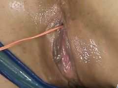 Sexy bikini girl gets oiled and fucked by two