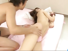 Japanese doll screams from dildo in the tight cunt