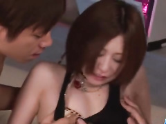 Beauty Japanese chick is pleasuring hotAsian style threesome