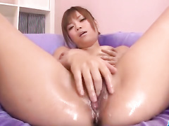 Juicy boobed brown haired chick masturbates cunt before fucking