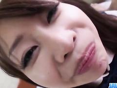 Teen Japanese brunette gets fondled and enjoys sucking dick