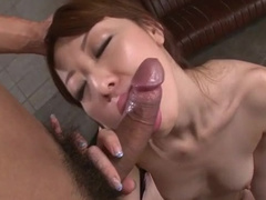 Smooth and tender skinned Asian brunette enjoys passionate fuck