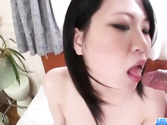 Fucker gently fondles Asian chick's boobies and pussy