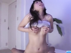 Japanese brunette excites hot from French kiss and pussy fingering