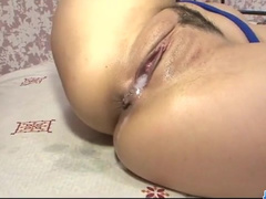 Yummy Japanese brunette is pleasuring fuck with two dudes