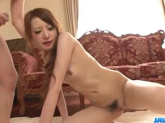 Steaming sexy petite Asian babe is getting undressed and hotly excited by fuckers
