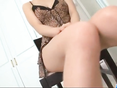 Sexy hot Asian chick is pulling up her dress and masturbating with vibrator toy