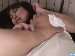 Fucker excitingly fondles and fingers Asian pussy