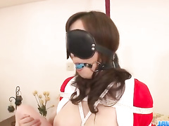 Japanese chick gets tied up and hotly excited with vibrator toy