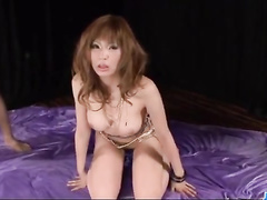 Appetizing sweet brown haired Asian beauty is getting excited with vibrator toys