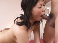 Two Asian fuckers are unsparingly fucking young chick