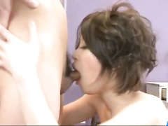 Amazingly beautiful Asian brunette chick is pleasuring passionate fuck