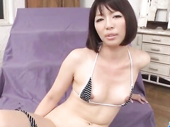 Asian fucker masturbates girlfriend's pussy and jerks off on her face