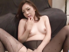 Brown haired chick got pantyhose torn and enjoyed hot masturbation