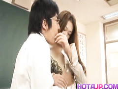 Japanese beauty gets pleasantly fucked by naughty teacher