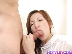 Skinny Asian babe got wonderful big boobs and pleasing her fucker with titjob