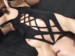 Exciting hot Asian chick is standing in doggy pose and sucking tight dick
