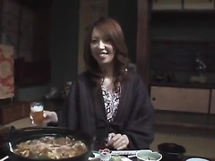 Japanese chick gets pleased with exciting hot fuck after diner