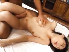 Exciting hot brunette babe with slender skinny shaped body fucks hot