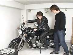 Awesome Japanese chick is getting passionately fucked on fancy bike