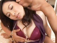 Japanese couple is hotly exciting from licking tongues