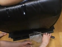 Japanese dude excitingly jerks off his dick on hairy pussy