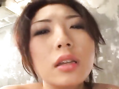 Teen Japanese babe with exciting hot body enjoys threesome fuck