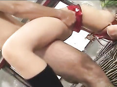 Slender young Japanese babe pleasured nasty hardcore fuck