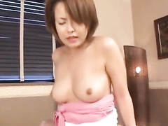 Oriental couple is hotly kissing and fondling before fucking hard